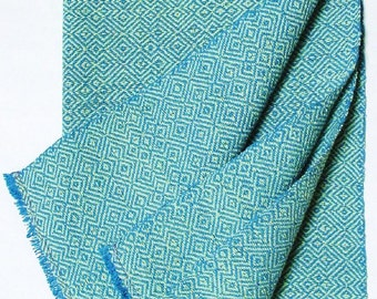 twill towel, lime and turquoise