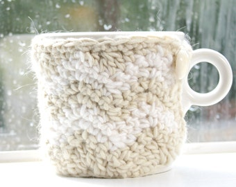 Beige and white Chevron Mug Cozy, Cup Cosy Crochet