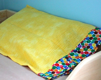 Toddler Sized Pillow Case--Yellow stripes with dots cuff-Made With Very Hungry Caterpillar Fabric----READY to SHIP