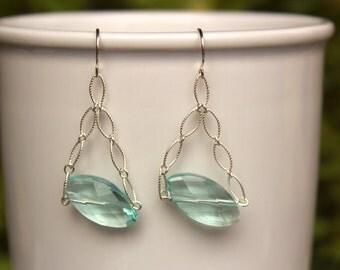 SALE! Natural Aquamarine Gemstone Earrings, Gold or Silver, Aquamarine Earrings, Aqua Gemstone Earrings, Lightweight, Simple, Minimalist