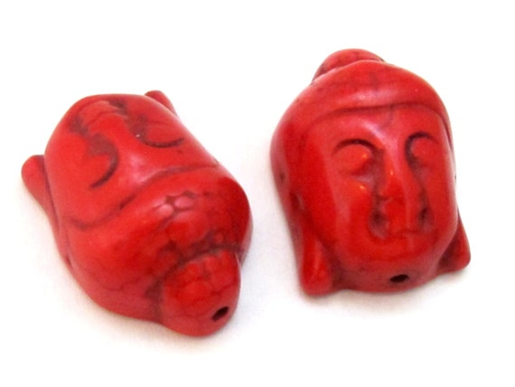 2 BEADS - Red color turquoise howlite carved Buddha bead  - BD703