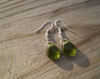 Olive Green Glass French Hook Earrings