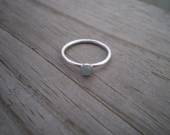 Aquamarine Stacking Ring, Sterling Silver, Size 7