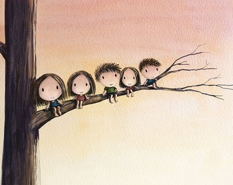 the thinking tree - 3 sisters 2 brothers climbing tree sibling art family of five children at play orange brown artwork family art 8x10 art
