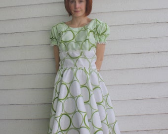 Square Dance Dress White Green Print H Bar C Vintage AS Is Needs hem M