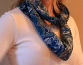 Teal Blue paisley print infinity scarf cowl, lightweight 60 inches circumference - teal blue with black and light blue designs