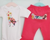 Pit bull baby one-piece and pant set in hot pink and aqua floral - Size 0-3 mos