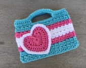 Pink and Aqua Valentines Purse Kids Crochet Purse
