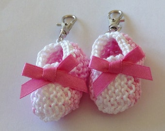 Two tone pink/ white knit baby bootie key ring/ bag decoration - 2 inches - great new mom gift - set of two