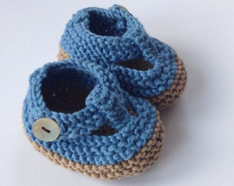 Baby boy / unisex shoes - hand knit brown/ petrol blue t bar booties with gift bag - ready to ship
