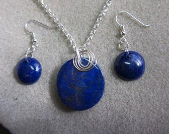 Geniune Lapis Lazuli Pendant & Earring Set wire wrap Silver Craft non tarnish wire Hand made  watercolorsNmore