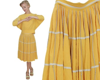 Jean Claire 50s Ensemble in Straw Yellow Cotton Crepe  / Blouse & Circle Skirt