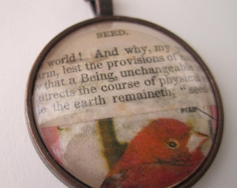 Seed - Collage & Poetry Pendant