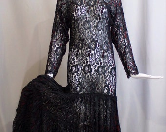 Vintage 1980s does 1930s sheer black floral lace red accent NORMA KAMALI draped goth witchy princess drop waist DRESS M
