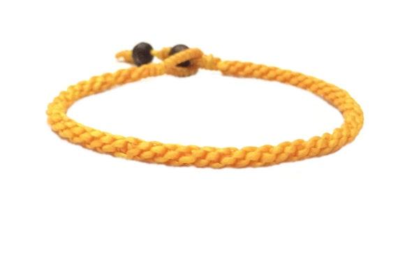 Handcrafted Classic Fair Trade Yellow Cotton Thai Buddhist Wristband Bracelet Wristwear