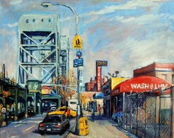 Broadway Bridge and Car Wash, Inwood. 16x20 New York City Oil on Canvas, American Realist NYC Fine Art, Signed Original Landscape Painting