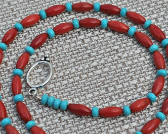 Red Coral Turquoise Necklace