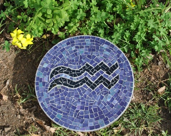 Custom designed signs of the zodiac mosaic garden stepping stones