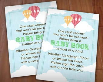 BRING A BOOK Card with hot air balloons in Vintage Rainbow- Instant Printable Download