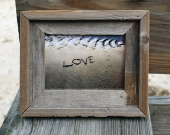 Rustic Beach Theme Wedding Love 5x7 photo- romantic word written in the sand, barn wood frame, coastal art, beach wish word photo