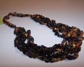 SALE 50% OFF; Crochet Necklace in Halloween Autumn Orange Brown Black; Ladder Yarn Necklace for Women Teen Girls; Fashion Accessory