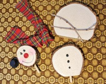 Build a Snowman Kit Wood Handmade Hand Painted