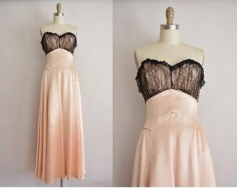 vintage 1950s dress / designer pink satin party dress / 50s ball gown