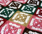 Crochet afghan granny squares throw blanket pink green brown red white burgundy large thick home decor bedding washable winter covering