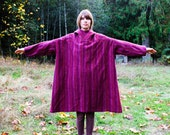 1970's . Wool . Striped . Red & Purple . Hooded . Cloak . Cape . Small / Medium