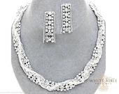 Silver Braided Rhinestone Statement Necklace Set, Bridal Necklace, Wedding Jewelry Set, Vintage Inspired Necklace