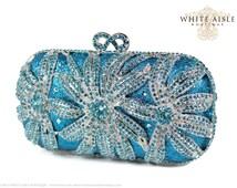 Aqua Swarovski Crystal Clutch, Blue Bridal Clutch, Silver Minaudiere, Wedding Purse, Evening Bag, Luxury Clutch, Rhinestone Clutch