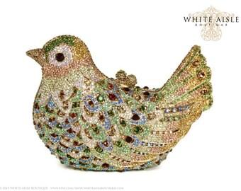 Crystal Bird Clutch, Bridal Clutch, Gold Minaudiere, Wedding Purse, Evening Bag, Luxury Clutch
