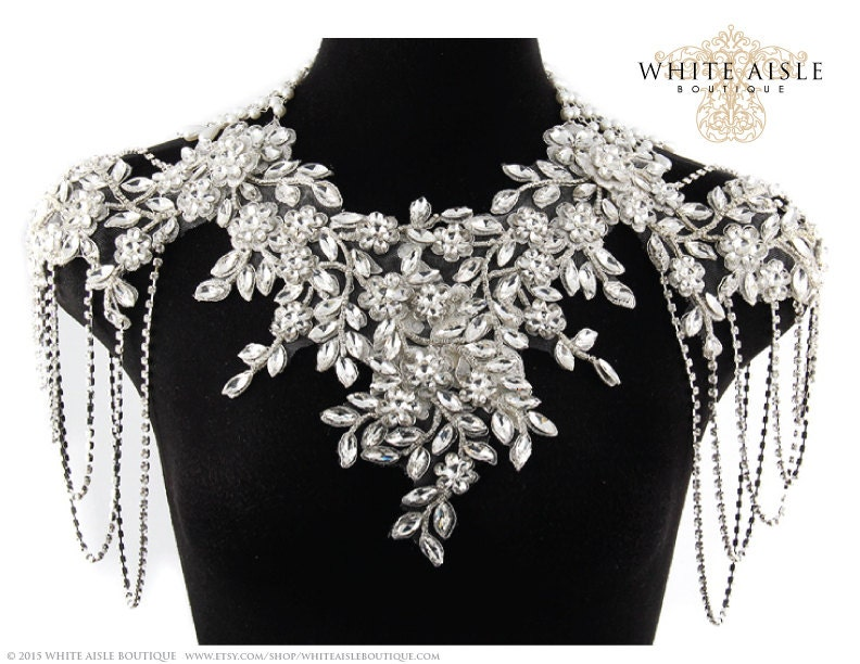 rhinestone bridal shoulder necklace statement necklace