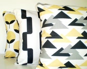 Yellow Gray Black Pillow Covers, Saffron Yellow Pillows, Decorative Throw Pillows, Cushion Covers Couch Bed Sofa, Combo Set of Three 18 x 18