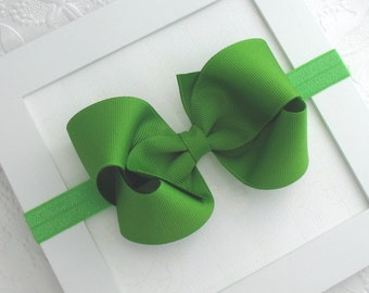Baby Bow Headband, Apple Green Bow Headband, Baby Christmas Headband, 4 inch Boutique Bow Headband