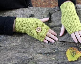 Fingerless gloves - Flower mittens in light green, arm warmers, gift for her, knitwear UK