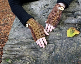 FINGERLESS GLOVES, Comfy mittens in autumn rust shade with buttons, vegan knitwear UK, gift ideas