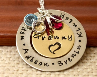 Personalized Necklace for Mommy or Grandma, Hand Stamped Jewelry, Custom Neckace, Mother's Day, Mother, Birthstone, Washer Necklace