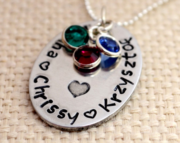 Mommy Personalized Necklace, Hand Stamped Jewelry, Custom Neckace, Mom, Mommy, Mother, Birthstone, Washer Necklace