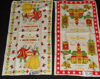 Vintage Set of 2 Bicentennial Linen Tea Towels-NICE!!!
