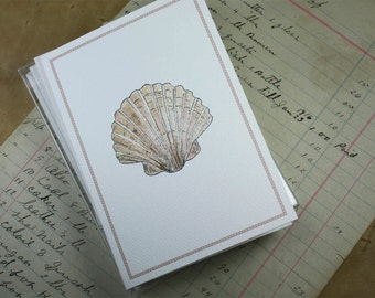 Pink Brown Scallop Shell Seashore Sealife Notes Notecards Thank You Notes, Set of 8. Handmade Notecards Greeting Cards Packaged