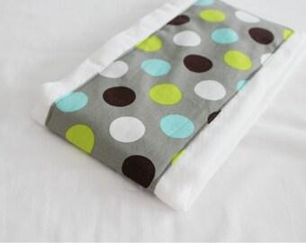 Grey Polka Dots Baby Burp Cloth