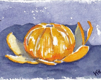 "Mandarin - an original watercolor ACEO 2 1/2"" x 3 1/2"""