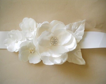 Bridal Sash - Soft White with Rhinestone and pearls