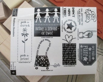 RUBBER STAMPS Used Stampin' Up 9 stamps- Business Boosters, new