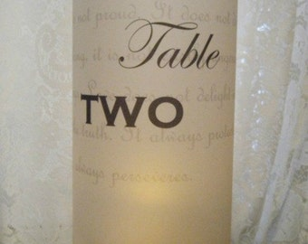 Table Number Luminaries I Corinthians Set of 12 Ready to Ship