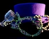 Green and purple masquerade ball mask,halloween mask, venetian mask, handmade mask