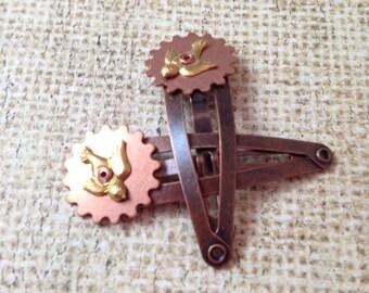 Copper Gear and Brass Bird Mini Barrettes