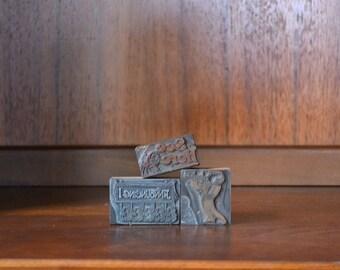 vintage antique 1930s advertising printing blocks - set of three