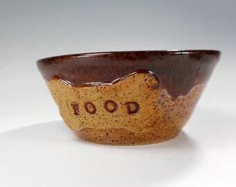 Dog food bowl with dog bone and letters FOOD, ceramic dog food bowl, pottery dog food bowl, stoneware dog feeding bowl